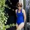 LAUREN Bandeau - Maillot de bain 1P à volant bleu pour prothèse mammaire