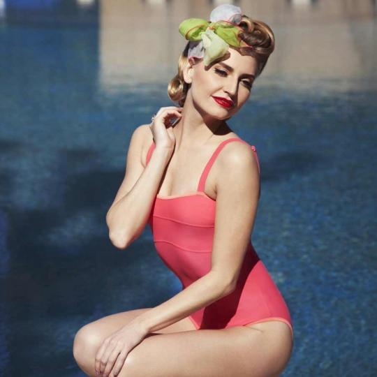 ESTHER Bandeau - Maillot de bain 1P corail pour prothèse mammaire