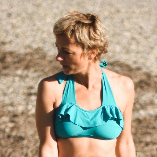 AUDREY Bandeau - Haut de maillot de bain 2P à volant pour prothèse mammaire